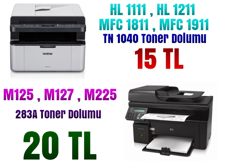 Brother ve hp , oki toner dolumu